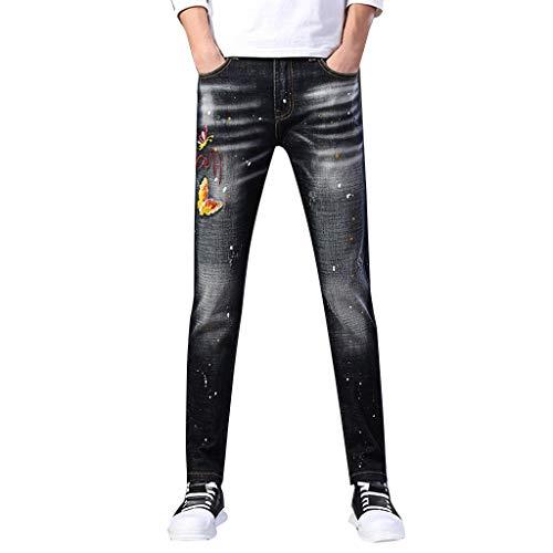 cinnamou Jeans Hosen Stretch Jeans New Zip Jeans Slim Bedruckte Buntfalten Hosen Pash Jeans Lange Mode