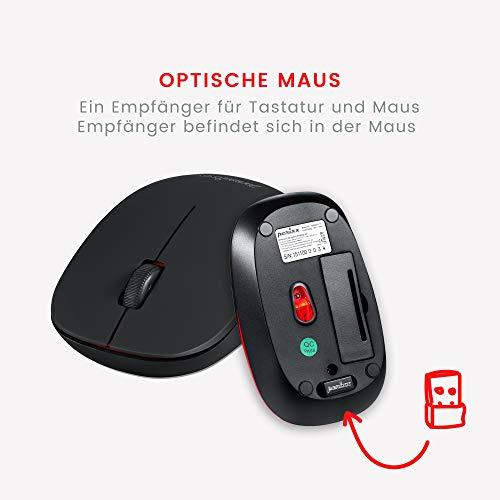 Perixx PERIDUO-712, Kabelloses Mini Tastatur und Maus Set - Minigröße - mit Nano Receiver - 2.4Gh - Schwarz - Leicht und Klein