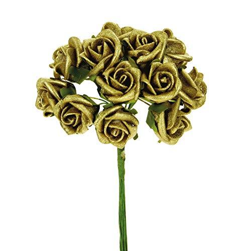 STEFANAZZI 36 Pezzi Fiori Oro e Argento per Anniversario di Nozze bomboniere Fai da Te Decorazioni Matrimonio Sacchetti Scatola segnaposto Festa di Compleanno
