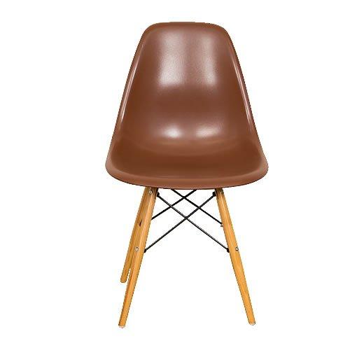 世界で有名なデザイナーズチェア 「イームズチェアー DSW(木脚)」【ブラウン色(茶色)】 ウッドベースサイドシェルチェア Eames Chair ダイニングチェア デスクチェアー