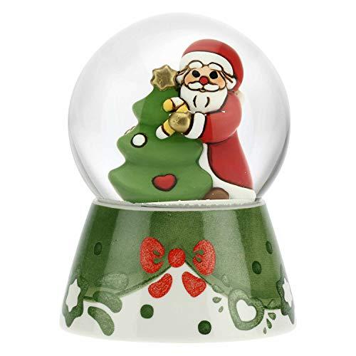 THUN - Palla di Vetro con Neve e Babbo Natale - Accessori per la Casa da Collezionare - Formato Grande - Ceramica,Vetro - Ø 8 cm