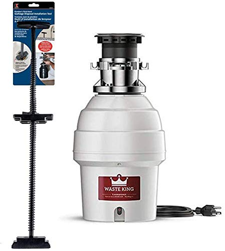 Waste King L-5000TC Batch Feed Garbage Disposal with Power Cord, 3/4 HP and Plumb Pak 3H2013 Garbage Disposal Installation Tool, 25 x 4.5 x 1.5 inches, White
