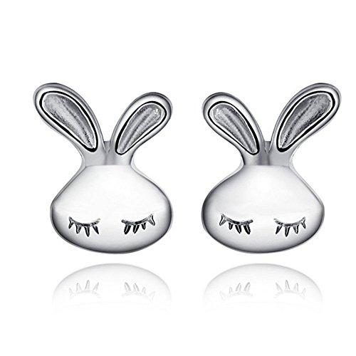 Hacoly Ohrstecker Ohrringe Damen Mode Legierung Häschen Form Ohrschmuck Schmuck Geburtstag Geschenk für Mutter Freundin Tochter - Silber