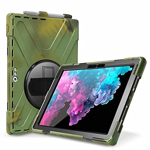 QiuKui Tab Cover For Microsoft Surface Pro 4 5 6, Armor Case Hand Strap 360 Rotation Stylus holder Case for Suface Pro 6 Pro 5 Pro 4 (Color : Army Green)