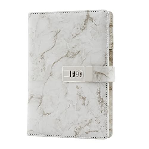 A5 Blocs y cuadernos con cerradura, Mármol de cuero PU Cuaderno de Contraseña de notas Cuaderno diario creativo con portalápices para hombre, mujer, adolescente, 192 páginas (8,38 x 5,65 pulgadas)