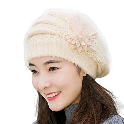 RISTHY Gorro de Invierno de Color Liso Suave y Cálido para Mujer Gorro de Punto Beanie Hat Skull Cap