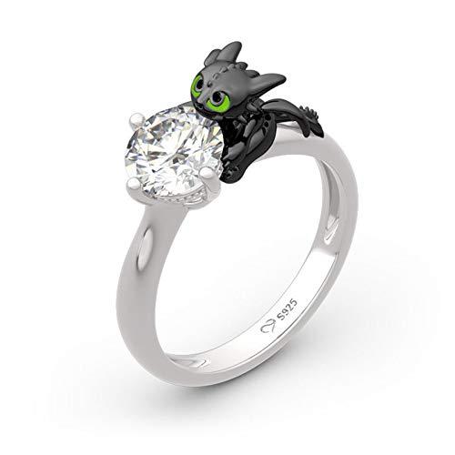 Jeulia Hug Me Zeigen Sie Ihr Herz Dragon Ring aus rundem Sterlingsilber Fashion Anniversary Promise Verlobung Ehering Set für sie mit Geschenk Schmuckschatulle (64(20.6))