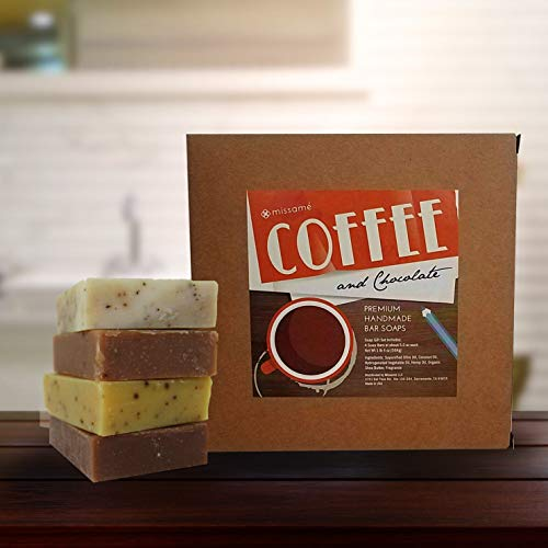 Handmade Bar Soap Gift Set, Coffee And Chocolate Scented, 4 Full Sized Bars 5.0 oz Each, Saponified Olive Oil Base With Organic Shea Butter, Best For All Skin Types