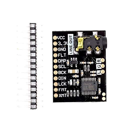 PCM5102 Audio-Karte mit Stereo-Buchse über ES9023 hinaus PCM1794A DAC für Raspberry Pi pHAT-Soundkarte I2C IIC-Schnittstellenmodul (Farbe: Schwarz)