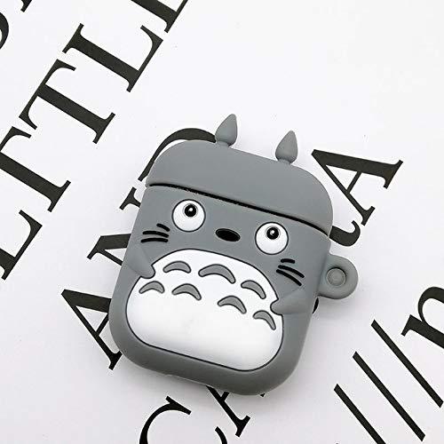 Funda de silicona para Apple Airpods 1 y 2, diseño de gato en 3D de dibujos animados japoneses anime personaje suave protectora para Airpod para niños, adolescentes y niñas (Totoro)