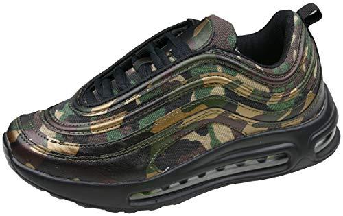 gibra® Sportschuhe Sneaker, Art. 8347, schwarz/tarn/Gold Camouflage Gr. 41