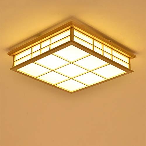 JINWELL LED Deckenleuchte Holz Lampe Square Holzlampe Eiche Deckenlampe Schlafzimmer Moderne Dimmung Leuchte Decke Licht Retro Holz Deckenleuchte Japanischer Stil Delicate Crafts 55x55x12cm 32w