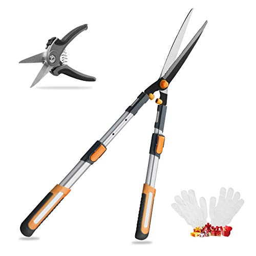 AIRAJ Telescopic Hedge Clippers & Shears,Extendable Hedge Clippers Heavy Duty,7.5
