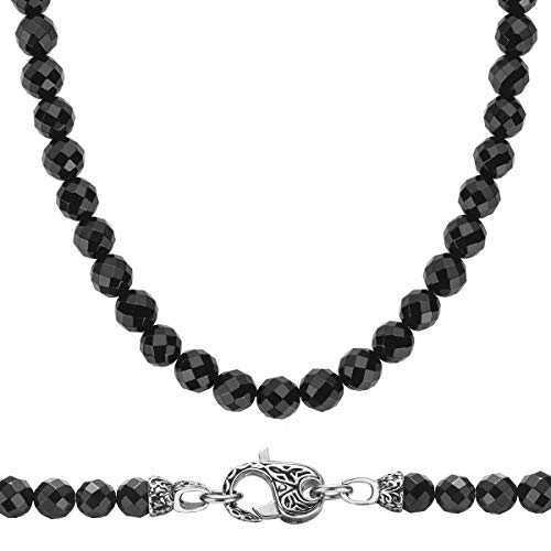 MASARWA JEWELS WESTMIAJW 8mm Mens Black Onyx Faceted Beads Beaded Necklace Chain Natural Gemstones Jewellery 60cm