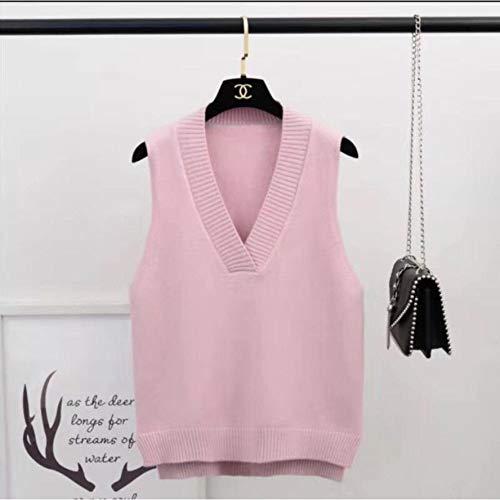 Mode Damen Pullover Sweatshirt Hoodie Sweater Weste Frauen Solid V-Ausschnitt Loose Plus Size Einfach Klassisch Elegant Office Damenwesten Chic Leisure New Knitting XL Pink