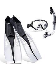 Snorkelset Duikuitrusting pakketten inclusief verstelbare zwemvinnen/flippers + automatische ademslang + gehard glazen lens snorkelmasker