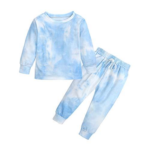 MYGBCPJS Conjunto de 2 Piezas de chándal para niños y niñas, de algodón de Manga Larga, para chándal y Pantalones de chándal, Azul-Blanco, 3 Años/4 Años