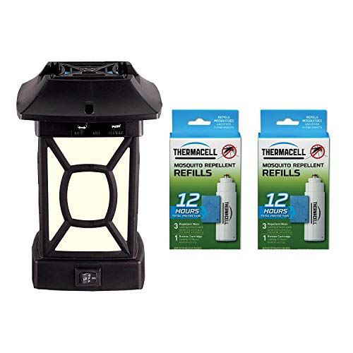 Thermacell MR9W Cambridge Mosquito Repeller LED Lantern, Black Bundle with Repellent Refill (2 Pack)