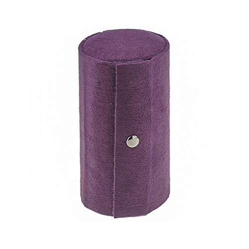 Caja de Joyas 1 Piezas Caja Joyero en Forma de Cilindro de Franela Portátil Retro Organizador de Joyas de 3 Capas Enrollable para Almacenamiento Anillos,Collar Caja De Almacenamiento De Joyas