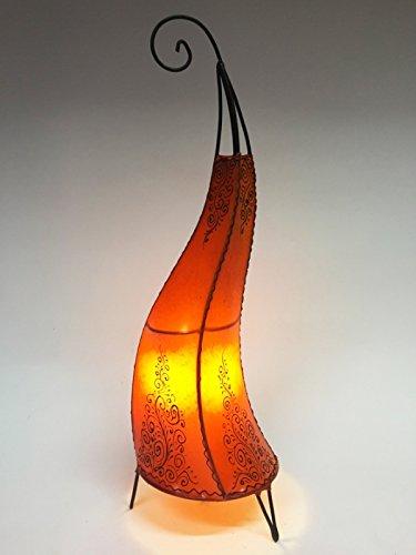 Orientalische Stehlampe Daya Orange 70cm Lederlampe Hennalampe Lampe | Marokkanische Große Stehlampen aus Metall, Lampenschirm aus Leder | Orientalische Dekoration aus Marokko, Farbe Orange