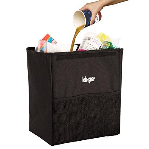 Car Garbage Can By Lebogner - Luxury 100% Leakproof X-Large Car Trash Bin, Car Trash Can, Sturdy Auto Trash Bag, Perfect For Car Seat Headrest Or Car Floor, Car Garbage Organizer