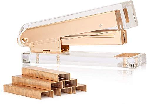 Sirmedal Elegante ultraklare Acryl Mattgold Tisch-Heftgerät mit 1000 Heftklammern für Bürozubehör(Gold)