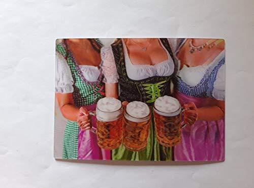 3 D Ansichtskarte Dirndl mit Maß Bier, Postkarte Wackelkarte Hologrammkarte, Bayern
