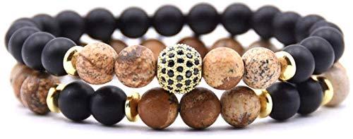 SUCICI Pulsera de Piedra Mujer, 7 Chakra Piedra Natural Bangle Brazalete Elástico Yoga Lucky Bracelet Zircon Bola de Oro Joyería para Damas Regalo de Pareja de Navidad