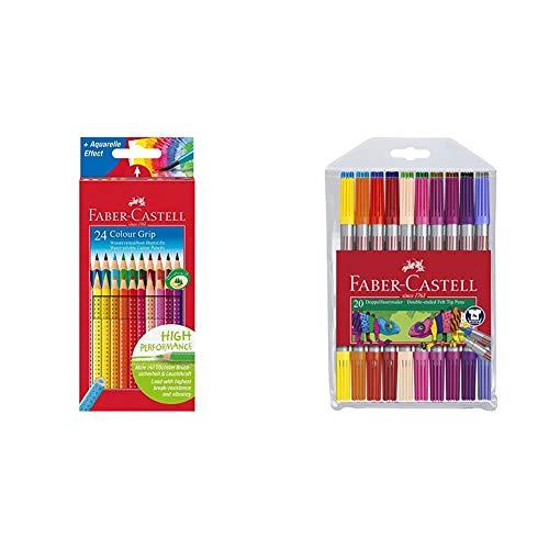 Faber Castell 112424 - Pack de 24 ecolápices triangulares, agarre Grip, acuarelables, multicolor, lápices escolares, multicolor + Rotuladores con dos puntas, fina y gruesa, color/modelo surtido