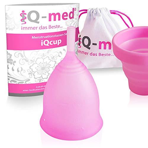 iQ-med Menstruationstasse | iQcup | Set mit Sterilisationsbecher | Ökologisch (Rosa, S)