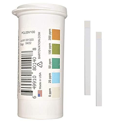 Bartovation restaurant chlor sanitizer kunststoff-teststreifen, 0-200 ppm [feuchtigkeit wicking vial von 100 strips]