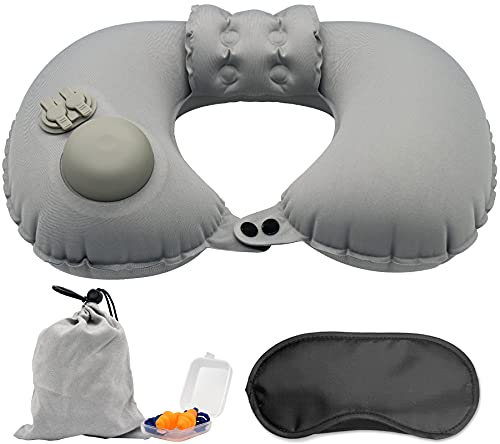 Cuscino da viaggio aereo (collo, gonfiabile, confezione da 3 con) - cuscino da viaggio sgonfiaggio 3s - cuscino gonfiabile mare in aereo, treno e pisolino in ufficio.