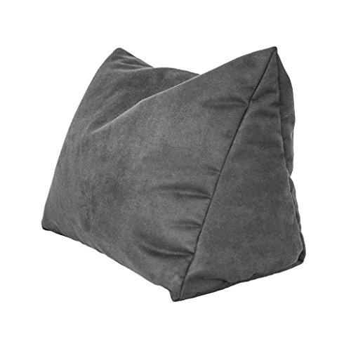 Lesekissen und Rückenstütze in Mikrofaser für optimalen Sitzkomfort Keilkissen Nackenkissen Dekokissen Fernsehkissen für Bett und Couch mit Schaumstoffflocken (grau)