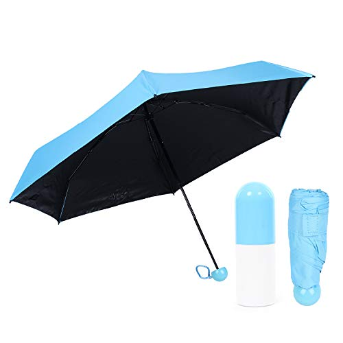 Youth Union Regenschirm Folding Ultralight 210T Mini Creme Kapseln Regenschirm Gummi Taschenschirm Sunny Travel Umbrellas (blau)