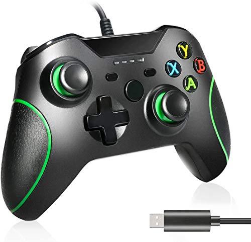 Controller cablato Lampelc per Xbox One, controller per Xbox One jack audio per cuffie da 3,5 mm, controller cablato USB Joystick per gamepad per Xbox One / Xbox One X / Xbox One S / PS3 e PC (nero)