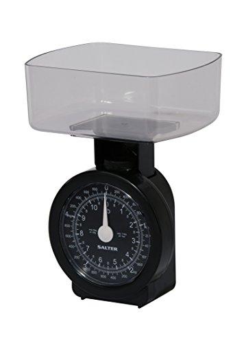 SALTER mechanische Küchenwaage, Max Traglast 5kg, Metrisch und Imperiale Einheiten, Klare analoge Anzeige, Spülmaschinenfest, Leicht zu reinigen, schwarz