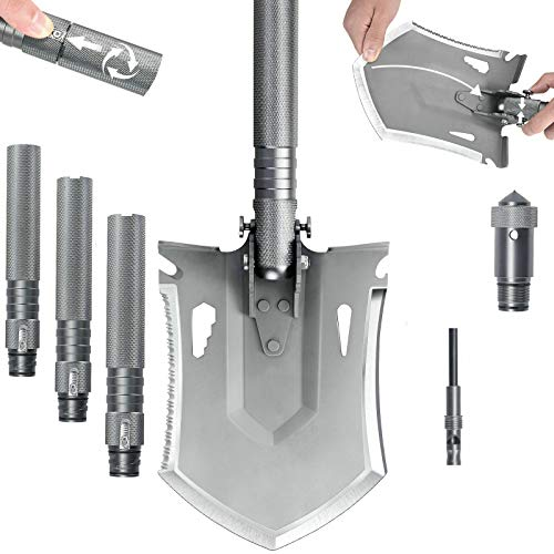 iunio Survival Folding Shovel with Handle Lock Design, Portable Entrenching Tool, Foldable Camping Multitool, Tactical Collapsible Spade for Hiking, Backpacking, Offroading, Car Emergency (Gray)