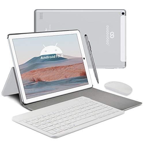 Tablet 10 Pollici 4G LTE - DUODUOGO Tablet Android 10.0, 4GB RAM+64GB ROM, Dual SIM, WIFI, Quad-Core, GPS, IPS 1920x1200, 8000mAh, Doppia Fotocamera, Bluetooth, Tablet in Offerta con Tastiera- Argento