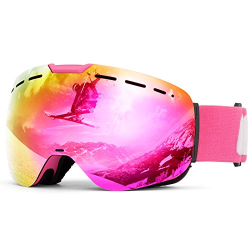 Ski Goggles 100% UV Protection OTG Design Winter Snowboard Motorcycle Goggle Spherical Magnetic Interchangeable Lens with Double Anti-Fog for Men Women Kids Boys Girls (Vlt 12% Pink)