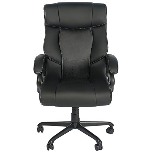 Big and High Back Office Exectuive Chair, Wide Seat Adjustable Managerial Home Desk Chair, Ergonomic Desk Chair with Lumbar Support, Swivel Computer PU Leather Chair for Adults (Black)