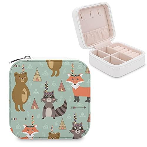 Caja de joyería para mujeres y niñas, diseño tribal con animales lindos pequeños viajes de piel sintética caja de almacenamiento organizador para collares, pendientes, pulseras