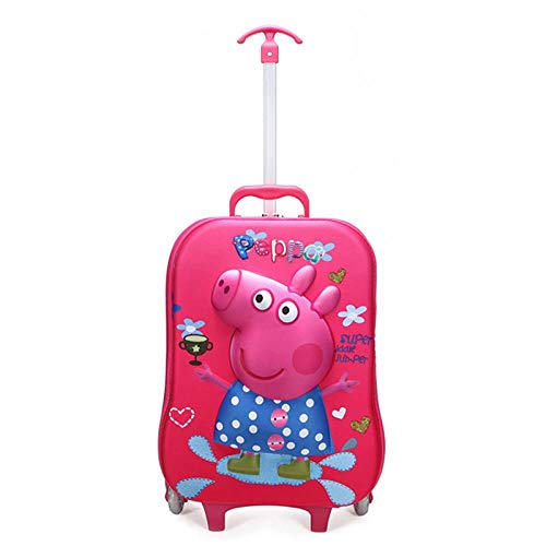 Boy's Car Trolley Case Wheeled Rolling Bag 3D Children Travel Suitcase Trolley School Backpack Kid's Trolley Bags with Wheels, Pig Pecs