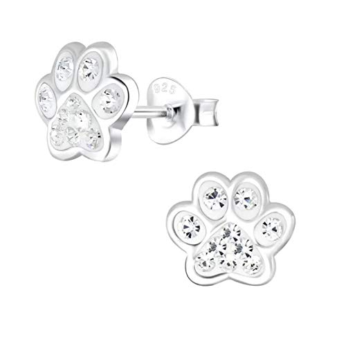 Dog Paw Print Gift Earrings - Sterling Silver with Crystal Stones
