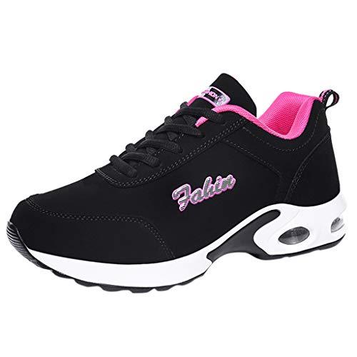 BoyYang Schuhe Sneaker mit Keilabsatz Damen Bequeme Atmungsaktiv Sportschuhe Turnschuhe Wedges Freizeitschuhe Keilabsatz 3cm
