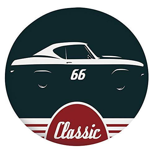 Elastic Edged Polyester Fitted Tablecloth,Classic Vintage Sports Car Muscle Vehicle Silhouette Old Fashioned Decorative Table Cover,Fits Round Tables 36-40',For Parties Weddings Spring Summer Ruby Whi