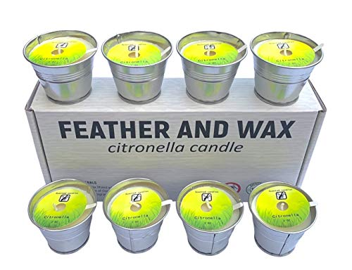 Feather and Wax 8 Citronella Candles Outdoor and Indoors, Portable Bucket Tin Soy Wax Scented, 80-120 Burning Hours, Anti Mosquito Insect Repellent Candles, Camping, Garden, Kitchen, Restaurant