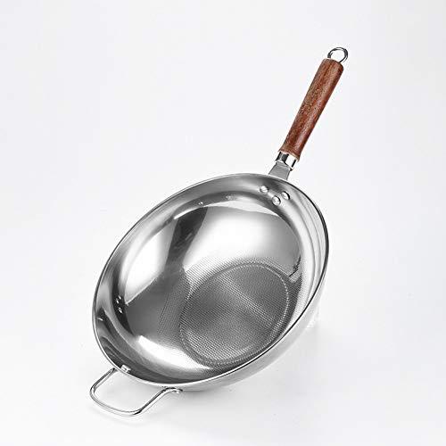KIODS Wok 32Cm kookgerei Wok Anti-aanbakplaat #304 RVS Koekenpan Niet-gecoat Koken Pot Koken Wok Pan Keuken Pot