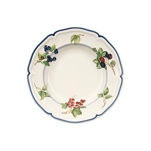 Villeroy & Boch - 10-1115-2700 - Cottage Assiette Creuse Décor Fruité, Assiette Porcelaine Creuse Maison de Campagne A Bord Bleu, Compatible Lave-Vaisselle, 23 cm
