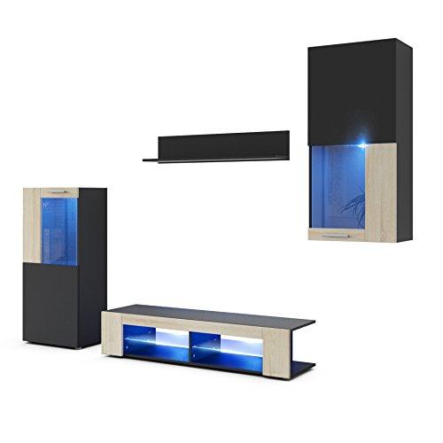 Vladon Combinaison Murale Movie, Corps en Noir Mat/Façades en Noir Mat avec Une Bordure en Chêne Brut avec éclairage LED en Bleu