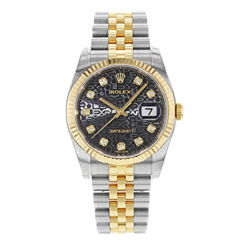 Rolex Oyster Perpetual Datejust 36 Black Set with Diamonds Dial Stainless Steel and 18K Yellow Gold Jubilee Bracelet